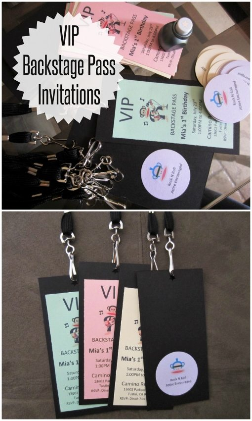 VIP Backstage Pass Invitations for a Rockstar Party - DIY Inspired