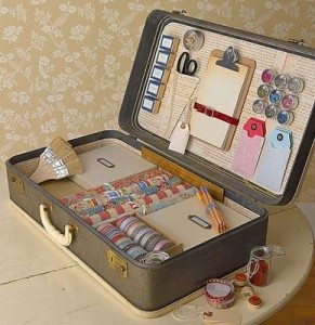 vintage suitcase- craft storage
