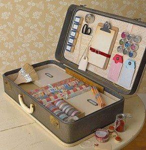 vintage suitcase- craft storage