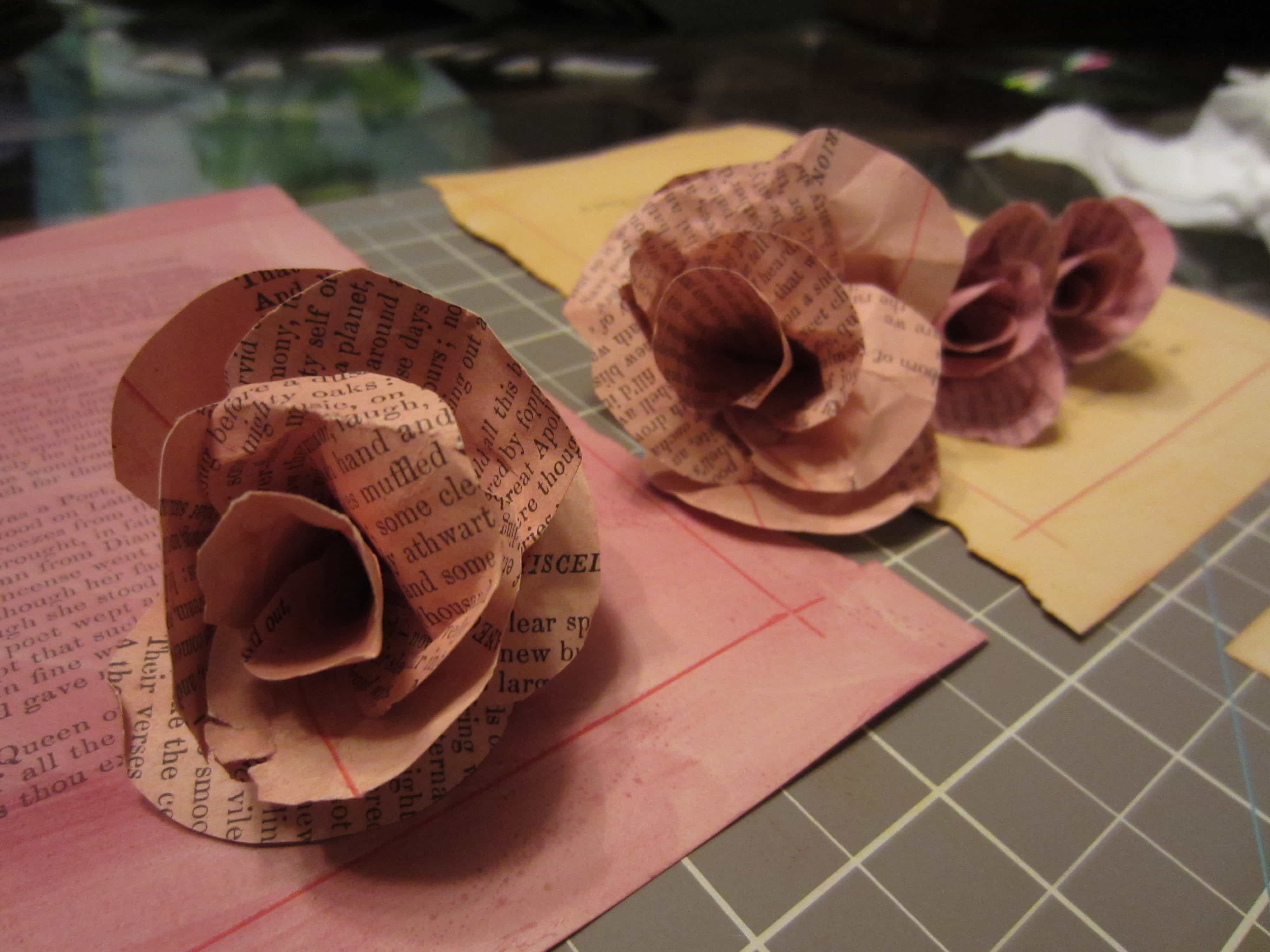 Recycled Book Page Flowers