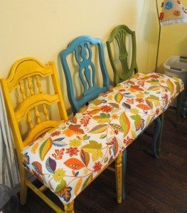 mismatched-chair-bench