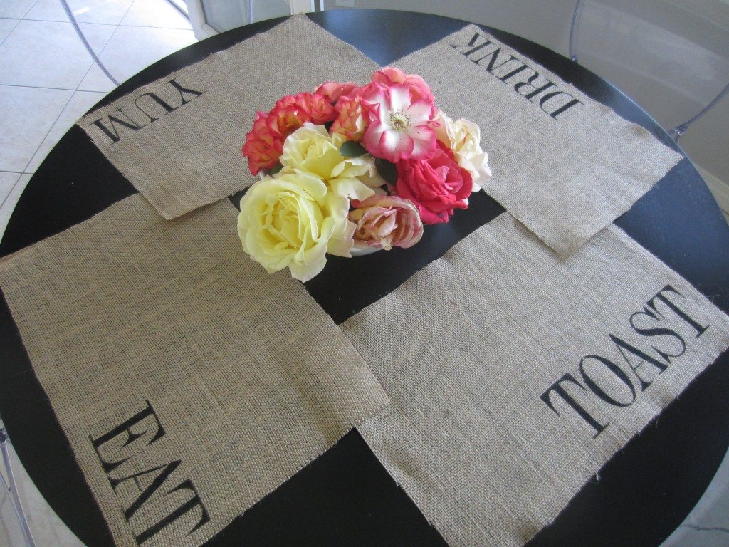 How to make burlap stenciled placemats with tips for stenciling and crafting and caring for burlap.