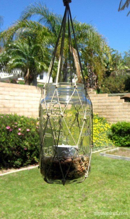 DIY Macrame Mason Jar Lanterns Tutorial - DIY Inspired