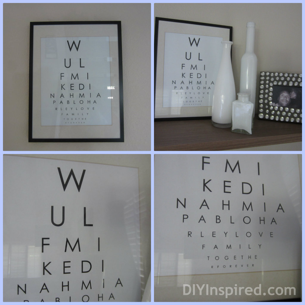 Diy Wall Art Name : Eye chart wall art diy inspired