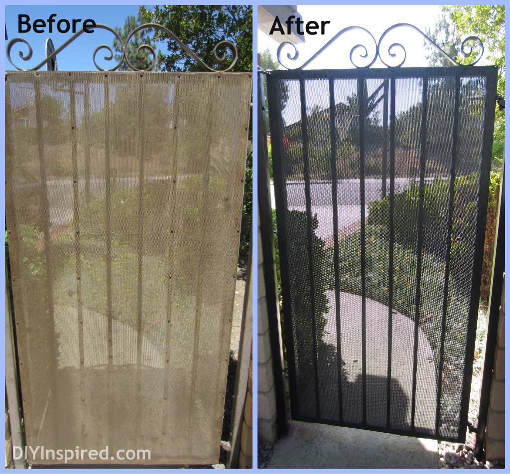 How to paint metal, a rusty metal gate makeover to boost curb appeal.