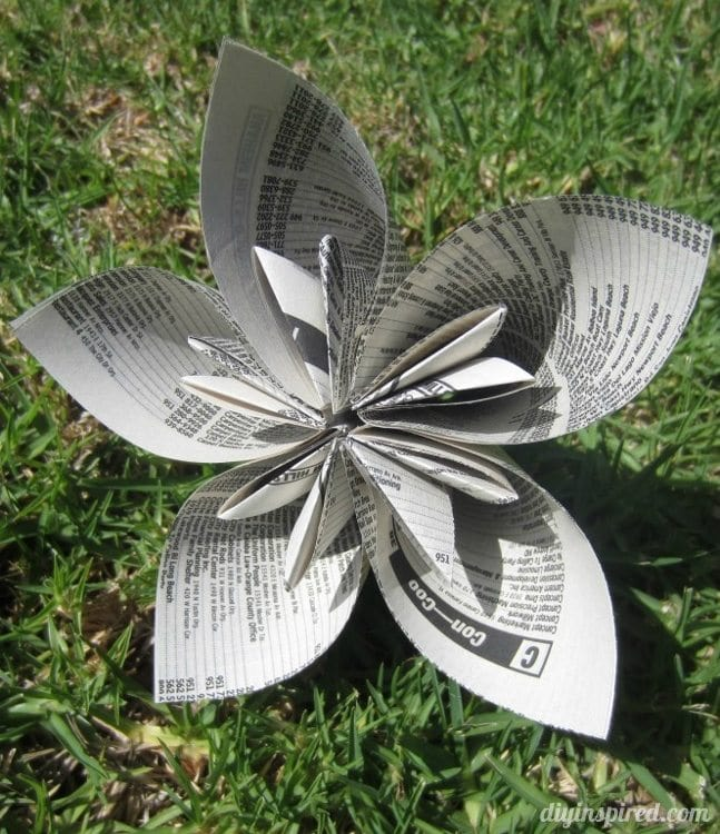 Repurposed Phone Book Page Origami Flowers
