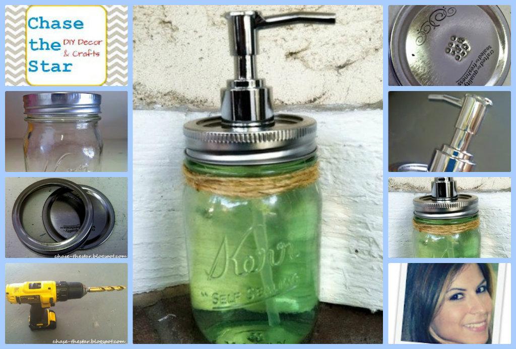 Mason jar soap dispensers tutorial. Cute   for the home.