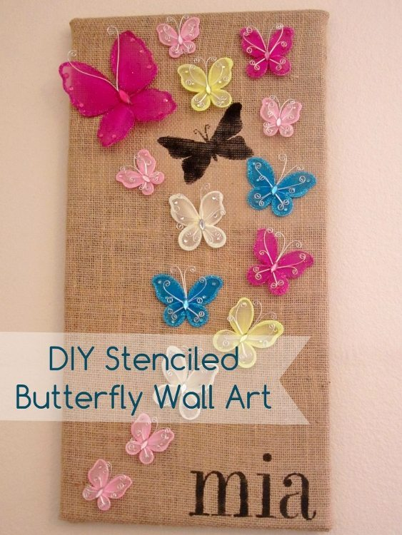 DIY Stenciled Butterfly Wall Art