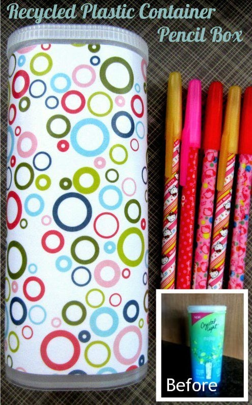 DIY Repurposed Drnk Container Pencil Box
