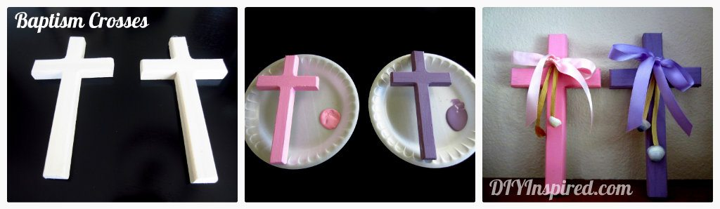 Baptism for twins sneak peek diy inspired for Cheap wooden crosses for crafts