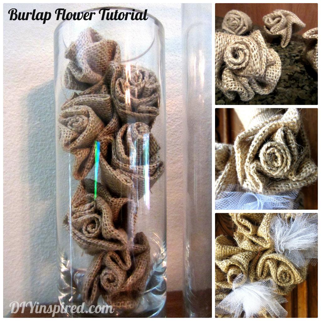 How to make a burlap flower diy inspired for Make flower craft ideas