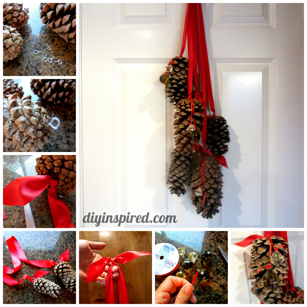 Pine Cone Christmas Decorations Hanging Pine Cone Decoration Diy Inspired