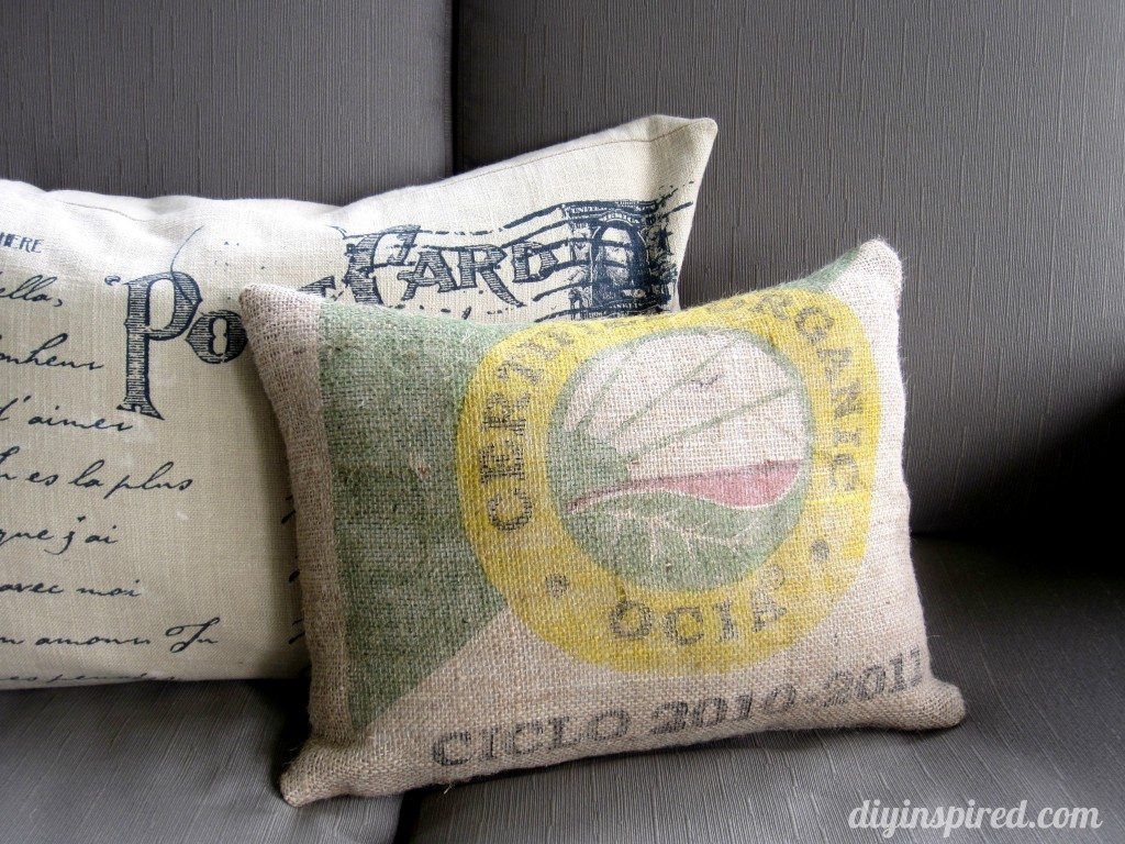 Recycled Coffee Bean Sack Outdoor Pillow (1)