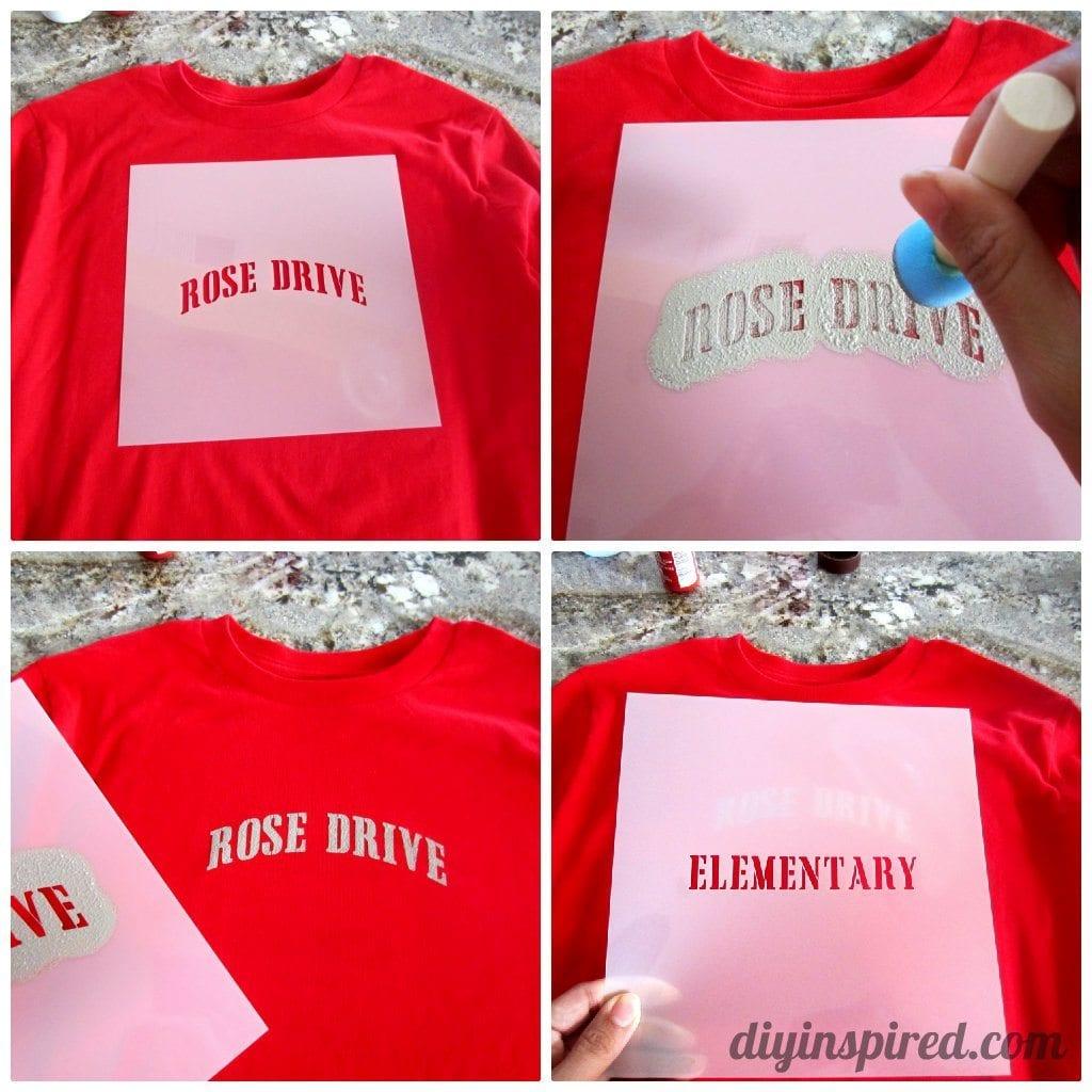 Stenciled school spirit shirts diy inspired for Diy school spirit shirt