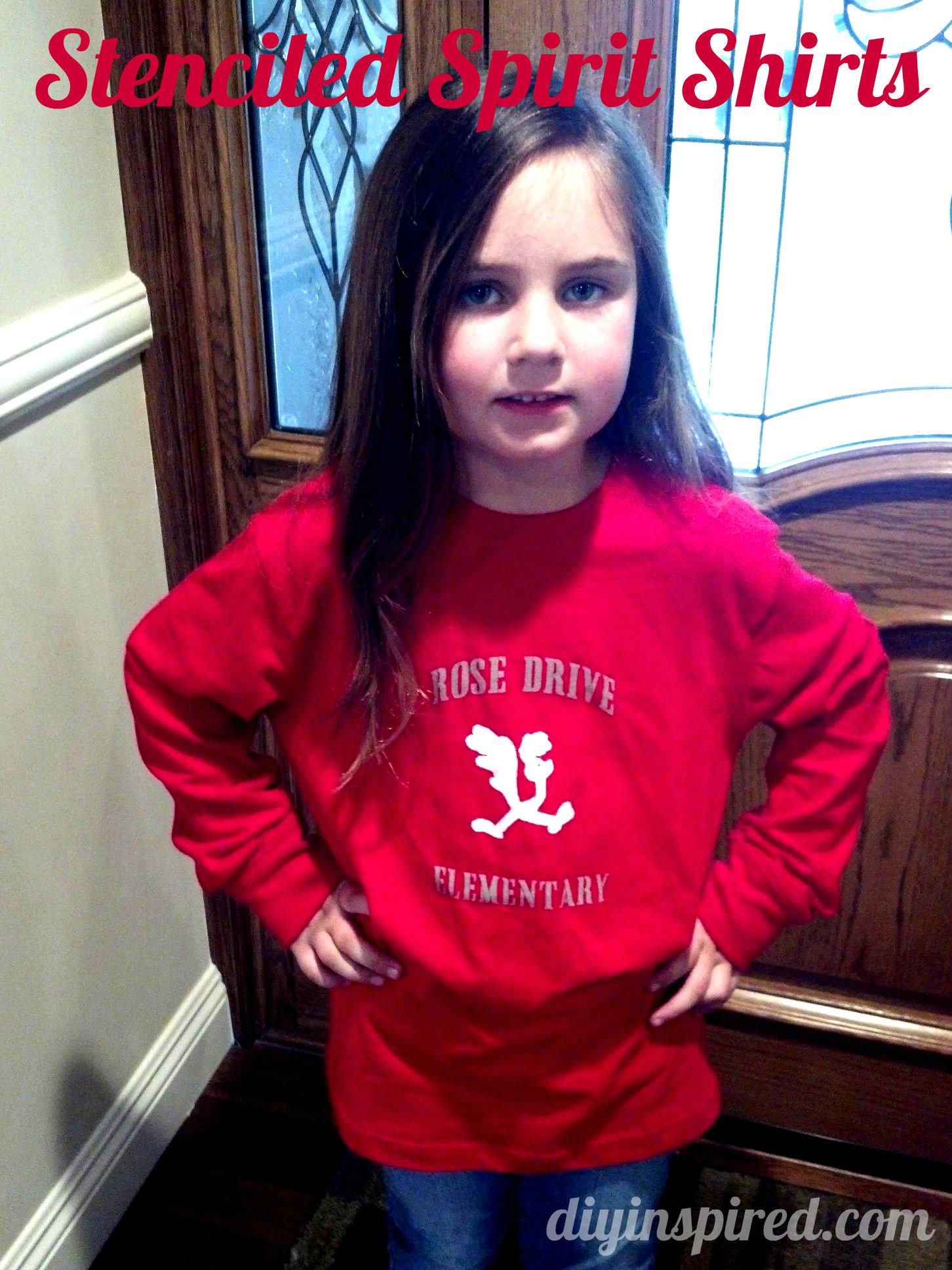Stenciled School Spirit Shirts Diy Inspired