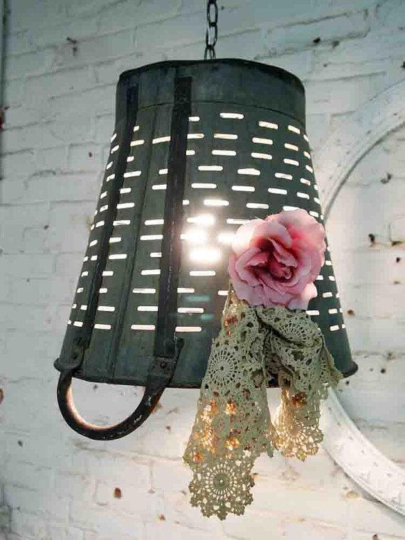 recycled basket lighting pendant