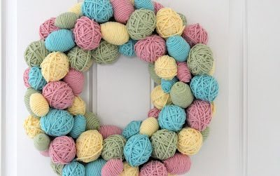Plastic Egg Yarn Wreath
