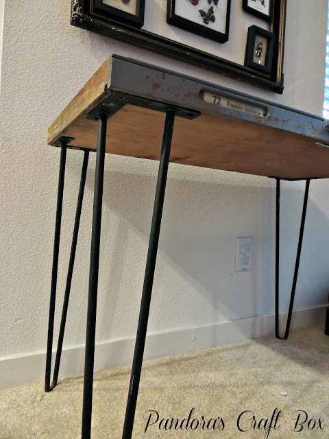 Vintage wood letterpress tray table diy inspired for Vintage hairpin table legs