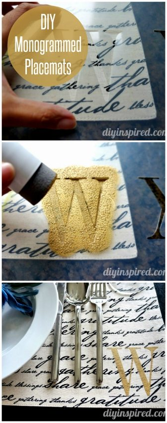stenciled monogrammed placemats tutorial