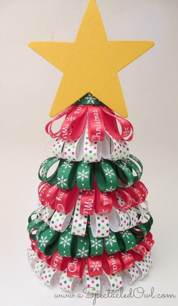 Ribbon christmas tree tutorial diy inspired for Christmas crafts to do