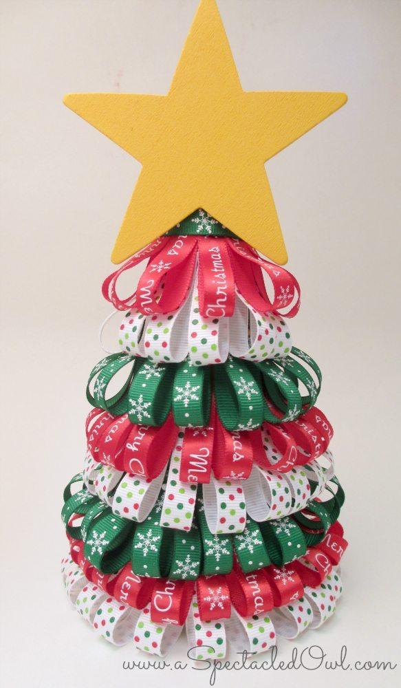 Ribbon christmas tree tutorial diy inspired