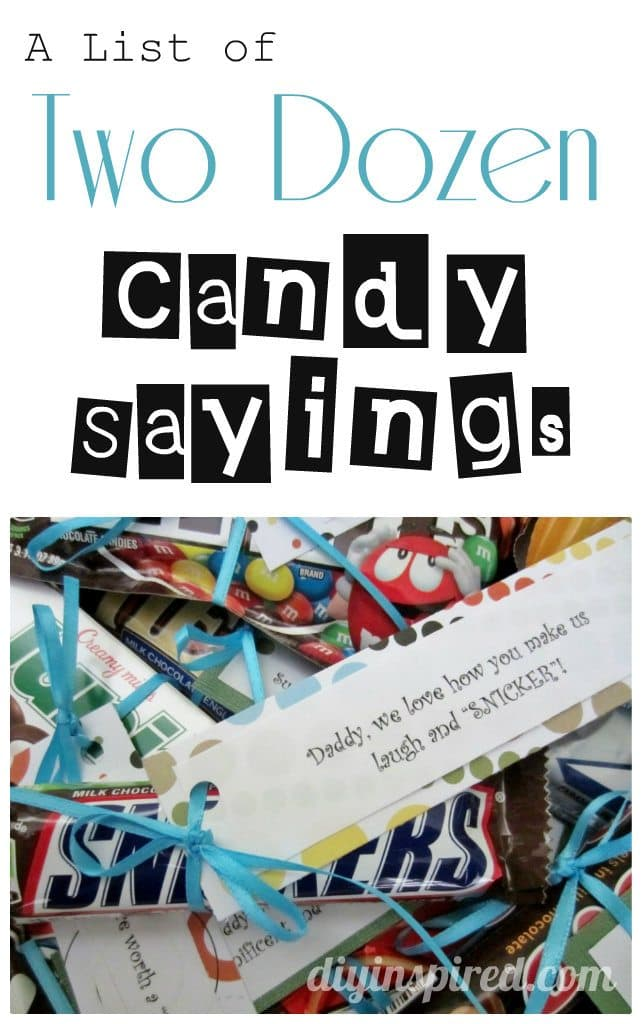 List of Two Dozen Candy Sayings - DIY Inspired