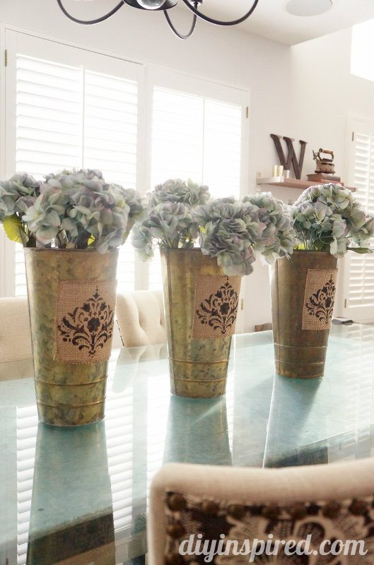 Spring centerpiece with stenciled burlap diy inspired for Crafts made with burlap