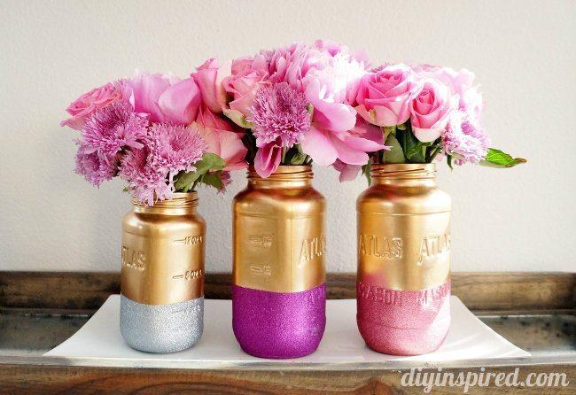 Gold And Glittered Mason Jar Centerpiece Diy Inspired