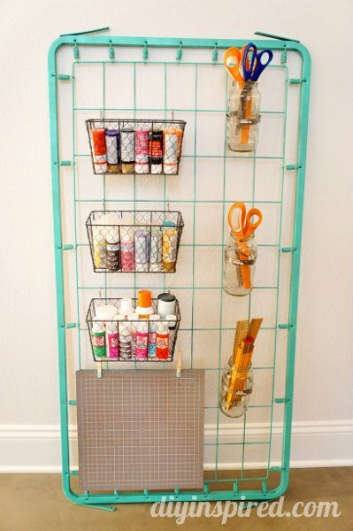 Repurposed Bed Spring Craft Storage DIY Inspired