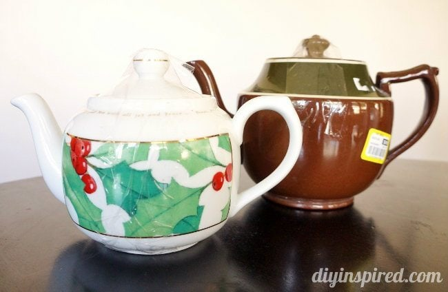 thrift store teapots makeover