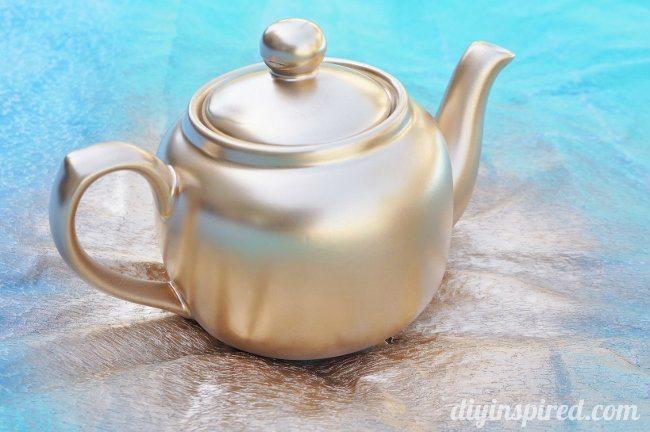 thrift store teapots party centerpiece