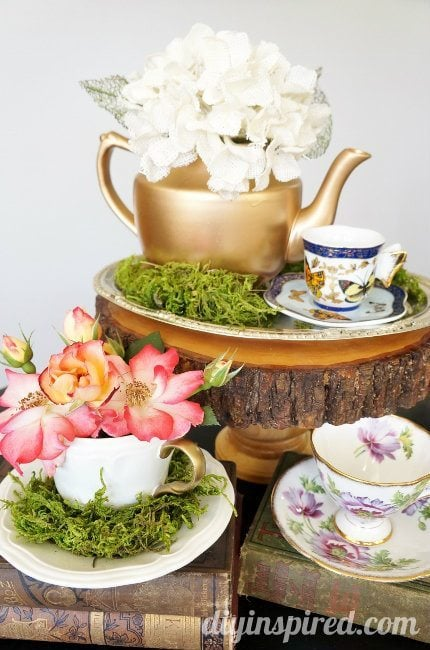 upcycled thrift store tea party teapots