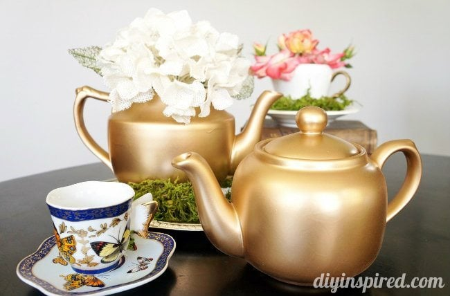 upcycled thrift store teapots