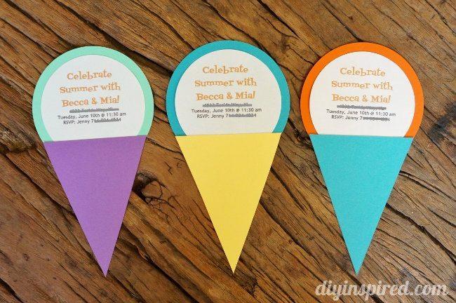 DIY Summer Ice Cream Themed Invitations