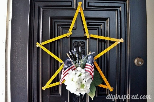 Upcycled Wooden Ruler Patriotic Wreath