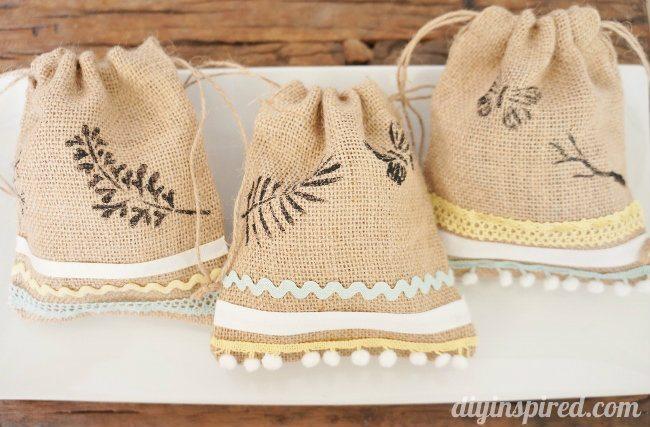 Stenciled burlap sacks diy diy inspired for Crafts to make with burlap
