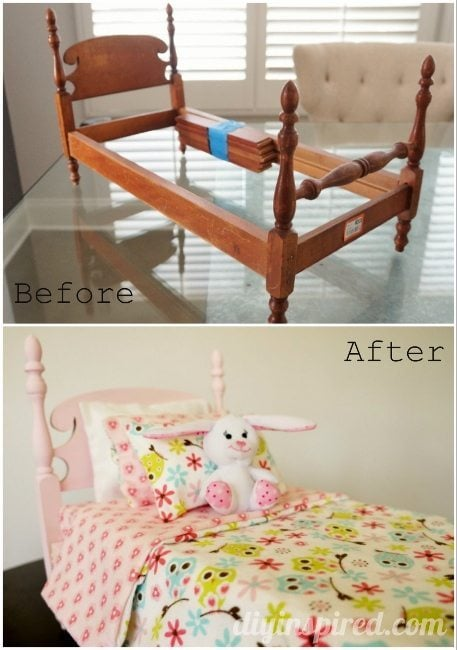 Thrift Store Doll Bed Before and After (457x650)