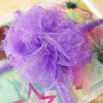 Purple tulle bow for a gift.