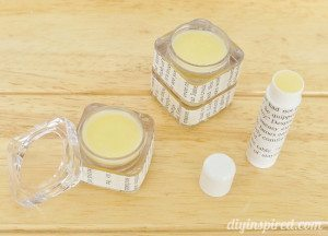 Mango flavored and pina colada flavored lip balm in recycled containers.