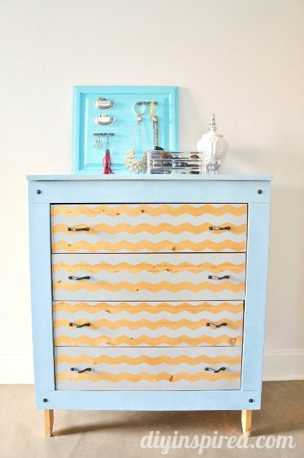 Spray Painted Dresser with Chevron Stripes