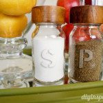 Etched glass salt and pepper shakers.