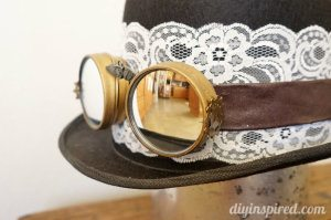 DIY Steampunk Hat and Goggles Upcycled