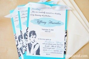 Breakfast at Tiffany's themed birthday party invitations with envelopes.