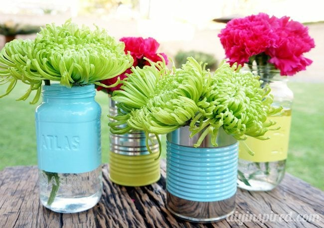 Recycled Can And Mason Jar Vases Diy Inspired
