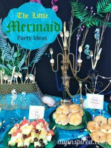 Ariel party food table and decorations.