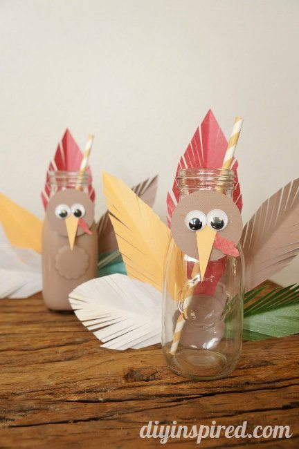 Glass Milk Bottle Crafts for Fall