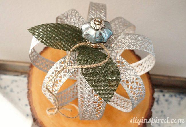 Upcycled Metal Ribbon Fall Pumpkin