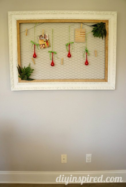 Christmas Card Display with Chicken Wire