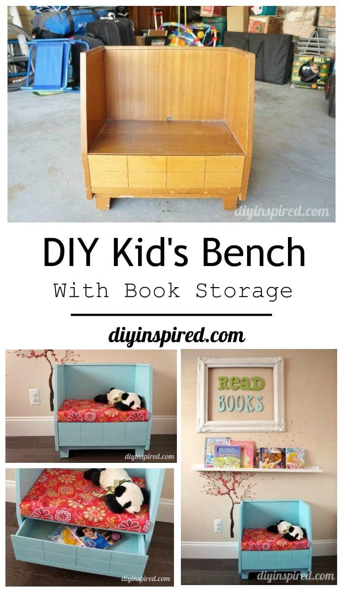 Diy kid 39 s bench with book storage diy inspired diy for Kids book storage diy