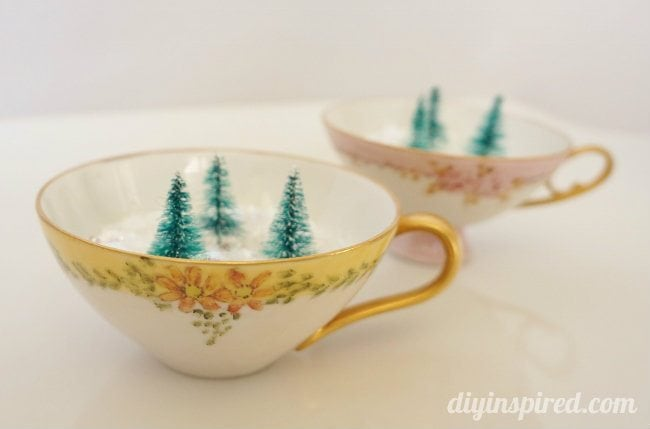 Mini Winter Forest in Vintage Tea Cups - DIY Inspired